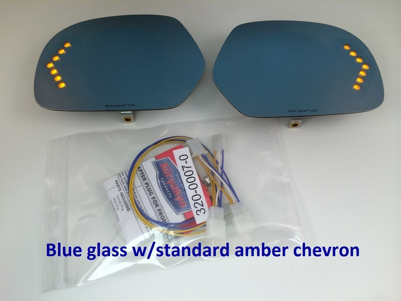Blue glass w/standard amber chevron